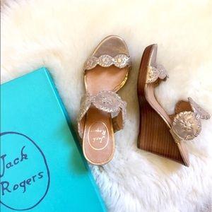 Jack Rogers Gold Luccia Stardust Platform Wedges